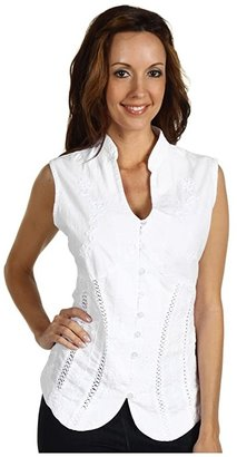 Scully Cantina Beautifully Detailed S/L Blouse (White) Women's Blouse