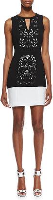 Ali Ro Halter Laser-Cut Sheath Dress, Black/Optic White