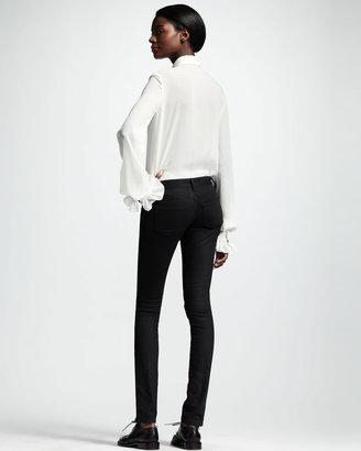 Saint Laurent Skinny Low-Waist Jeans, Black