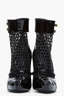 Alexander McQueen Black Patent leather and fishnet Dream heels
