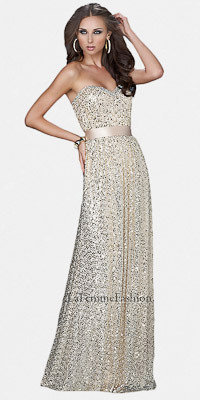 La Femme Sequined Strapless Light Gold Prom Dresses