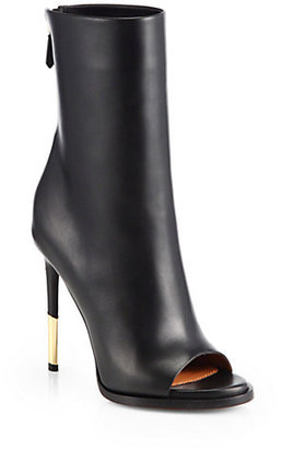 Givenchy Leather Shark-Heel Ankle Boots