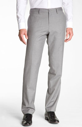 Boss Black 'Crigan' Patterned Flat Front Wool Trousers