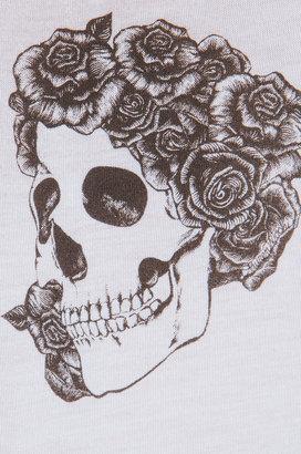 Lauren Moshi Dana Mini Skull with Roses Asymmetrical Sleeveless Top