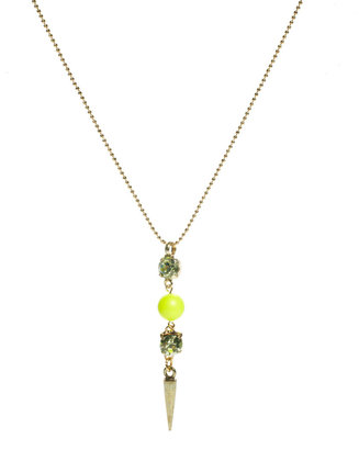 Krystal Neon Bead Necklace with Spike Drop