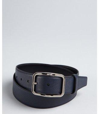 Prada baltic blue saffiano leather rectangle buckle belt