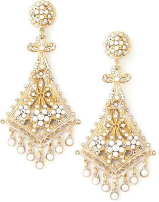 "Jose & Maria Barrera span class=""product-displayname""]Beaded Kite Clip Earrings, White[/span]"