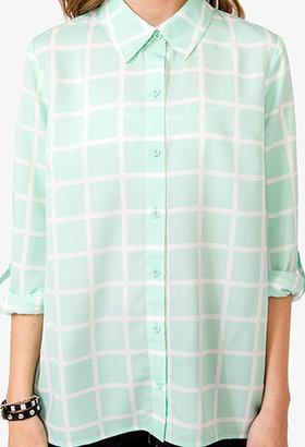 Forever 21 Grid Pattern Georgette Shirt