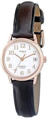 Timex Women's T2P564 Easy Reader Rose Gold-Tone Brown Leather Strap Watch $49.95 thestylecure.com