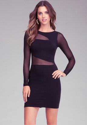 Bebe Mesh Inset Bodycon Dress
