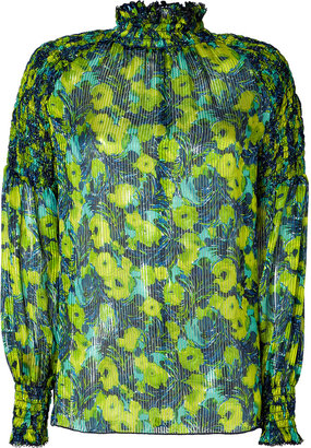 Anna Sui Chartreuse Multicolor Silk-Blend Tunic Top