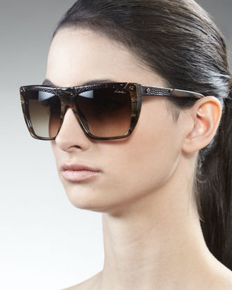 Lanvin Snakeskin Square Sunglasses
