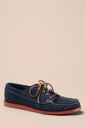 Lands' End Canvas Men's Oak Street Bootmakers Navy Suede Red Brick Sole Trail Oxford