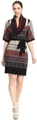 Jessica Simpson Belted Cowl-Neck Sweater Dress