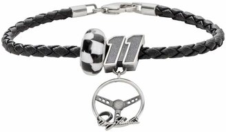 "Insignia Collection NASCAR Denny Hamlin Leather Bracelet & Sterling Silver ""11"" Charm & Bead Set"