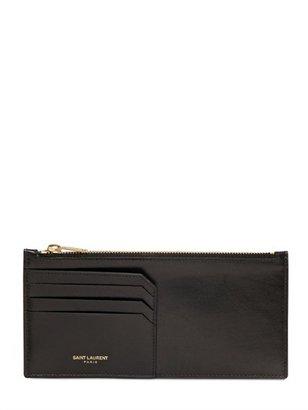 Saint Laurent Brushed Leather Long Zip Wallet