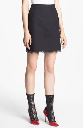 Nordstrom Miss Wu Lace Hem Twill Skirt Exclusive)