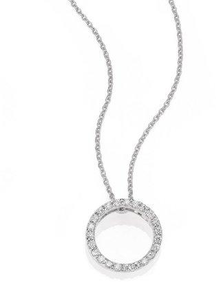Roberto Coin Tiny Treasures 0.11 TCW Diamond & 18K White Gold Petite Circle Pendant Necklace