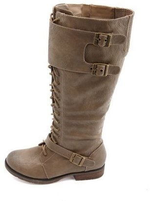 Charlotte Russe Lace-Up Knee-High Flat Boot