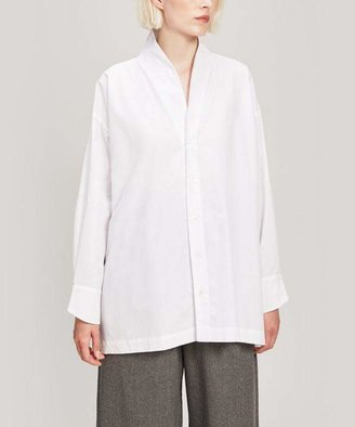 eskandar Slim A-Line V-Neck Cotton Shirt