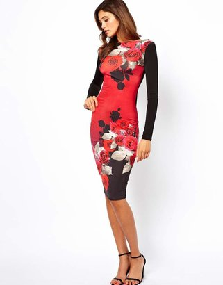 Asos Pretty Rose Print Body-Conscious Dress