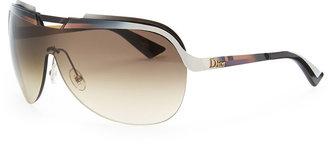 Christian Dior Multicolor-Bar Shield Sunglasses, Burgundy/Orange