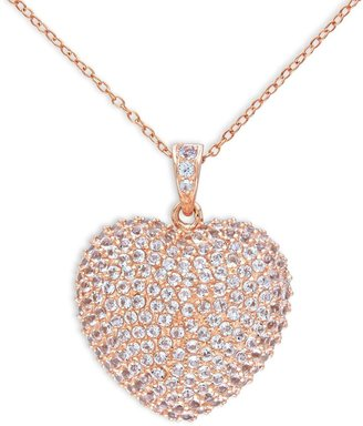 Sonatina Rose Toned Sterling Silver White Topaz Pave Heart Necklace $124.99 thestylecure.com