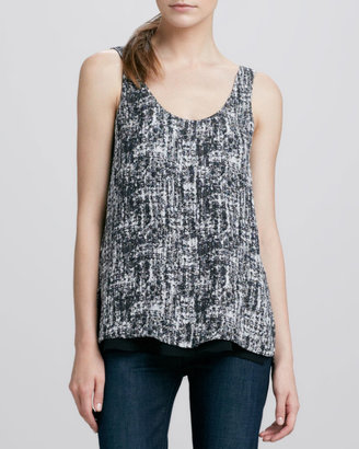 Vince Double-Layer Printed Silk Tank, Black/White