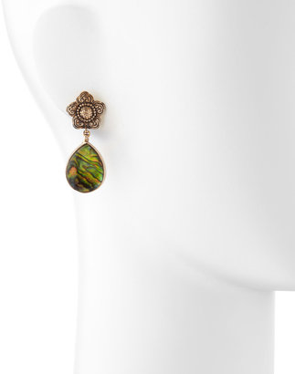 Stephen Dweck Rock Crystal Over Abalone Pearl Earrings