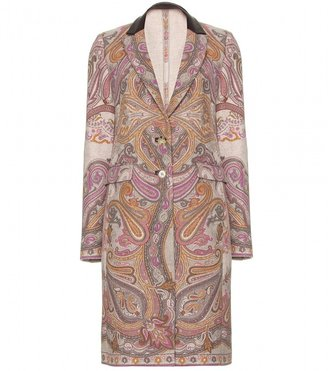 Etro PAISLEY PRINT WOOL COAT WITH LEATHER TRIMMED COLLAR