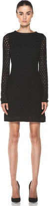 Diane von Furstenberg Slim Kivel Ladder Lace Dress in Black