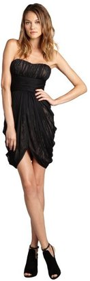 Max & Cleo black net and lace 'Abby' strapless cocktail dress