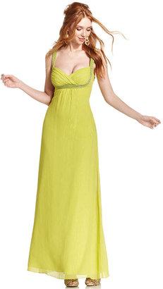 GUESS Dress, Sleeveless Beaded Metallic Gown