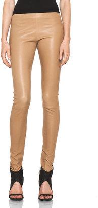 Neil Barrett Leather Leggings in Camel