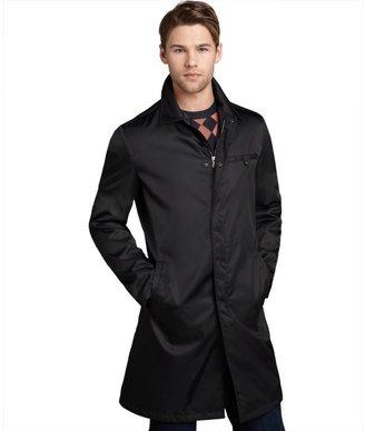 Prada black nylon zip front coat
