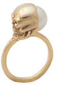 House Of Harlow Gold Plated Skull and White Pearl Ring