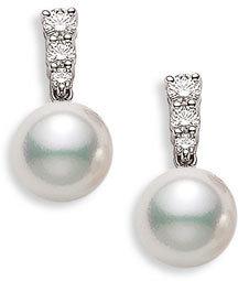 Women's Mikimoto 'Morning Dew' Akoya Cultured Pearl & Diamond Earrings $2,990 thestylecure.com