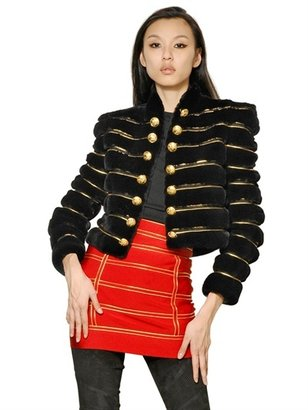 Balmain Gold Striped Rex Rabbit Jacket