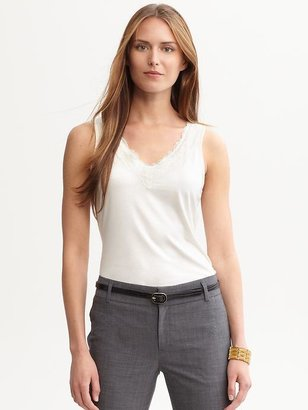 Banana Republic Luxe-touch lace-trim tank