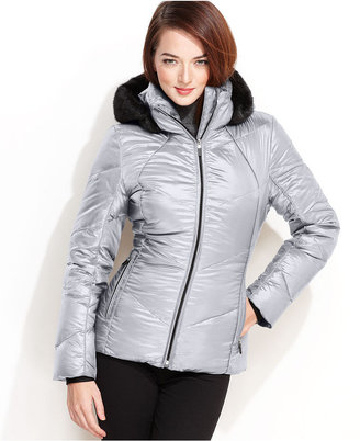 Calvin Klein Jacket, Faux-Fur-Trim Hooded Fitted Puffer