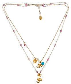 Flying Lizard Om Pendant Double Strand Necklace