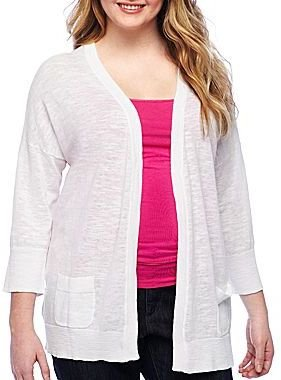 JCPenney a.n.a® 3/4-Sleeve Open-Front Cardigan - Plus