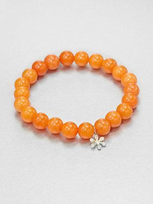 Sydney Evan Diamond & 14K Gold Peach Rose Jade Beaded Stretch Bracelet
