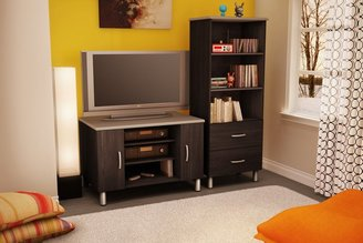 Green Baby South Shore Cosmos Collection TV Stand/Gaming Station - Black Onyx and Charcoal