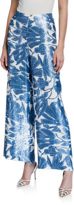 Lafayette 148 New York Riverside Floral Sequin Wide-Leg Ankle Pants