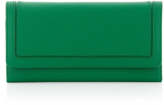 Neiman Marcus Foldover Saffiano Wallet, Kelly Green