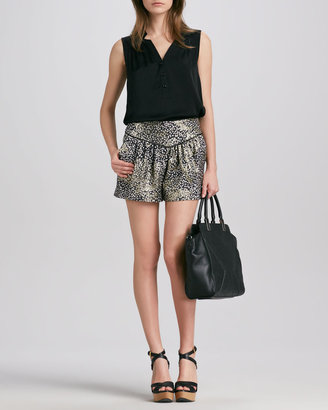Milly Printed Pleated Shorts