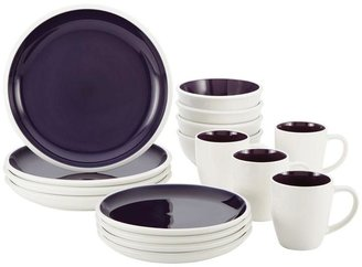 Rachael Ray Rise Stoneware 16-Piece Dinnerware Set in Purple