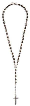 GUESS Oval Wood-Bead Chain and Pyramid-Stud Rosary Necklace