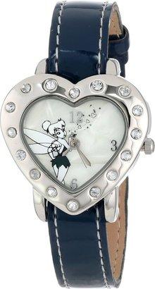 Disney Women's TK1033 Tinkerbell Heart Shape Case Navy Patent Strap Watch